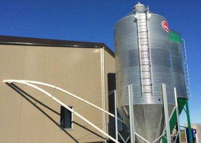 Feed system and silos installed