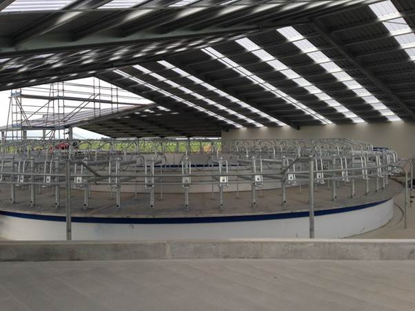 Pipework and bails installed in the dairy shed
