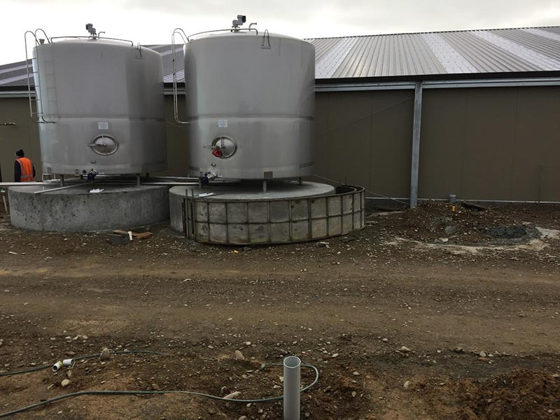 Milk vats installed.